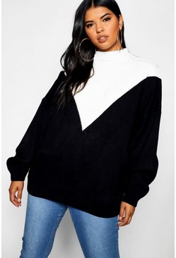 Womens Black Plus Oversized Knit Balloon Sleeve Jumper