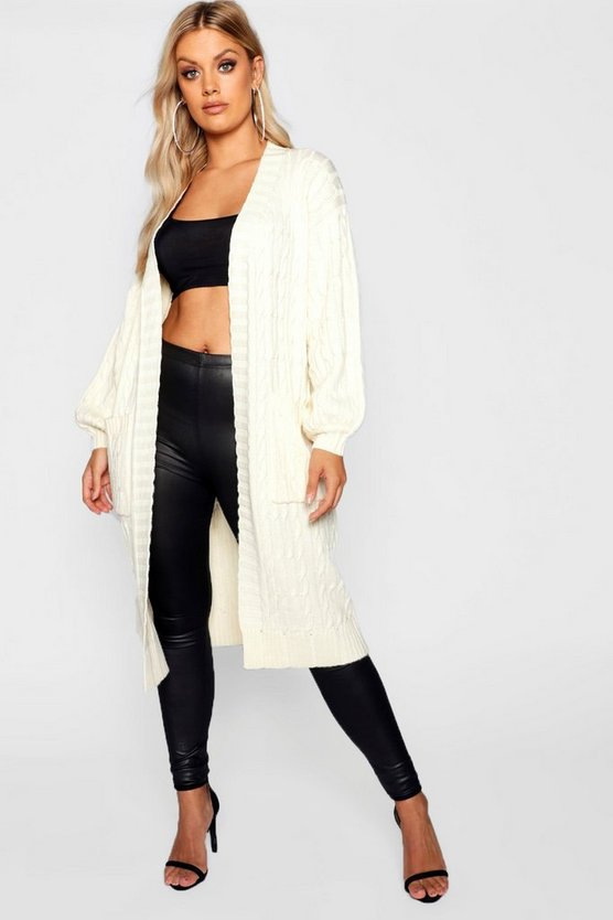Plus Cable Knitted Pocket Cardigan