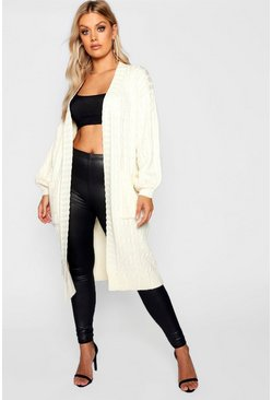 Womens Ivory Plus Cable Knitted Pocket Cardigan