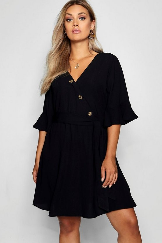 Plus Horn Button Wrap Ruffle Sleeve Skater Dress