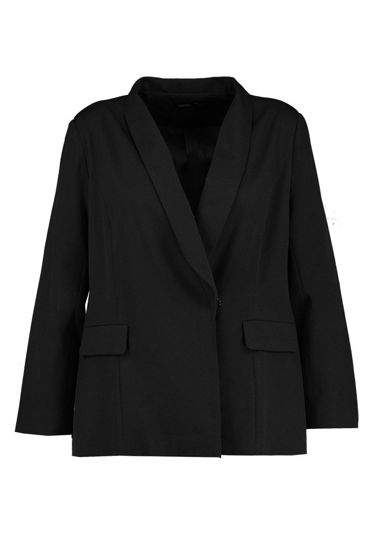 negro detalle con Plus bolsillo Blazer de qXS0g8xxw