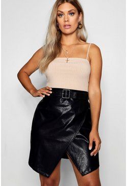 Womens Black Plus Belted PU Crossover Skirt