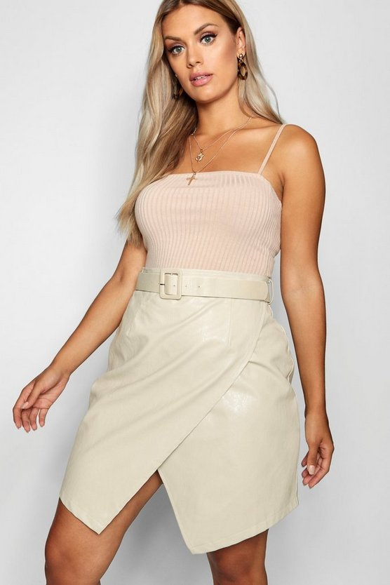 Plus Belted PU Crossover Skirt