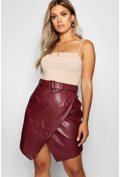 Claret Plus Belted PU Crossover Skirt