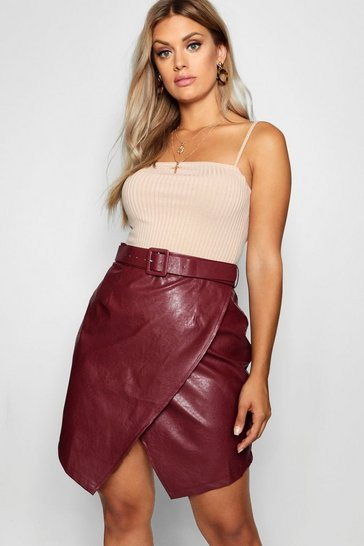 Womens Claret Plus Belted PU Crossover Skirt