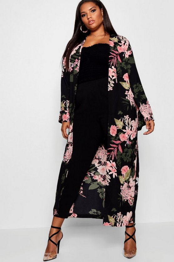 Plus Floral Longline Duster Jacket