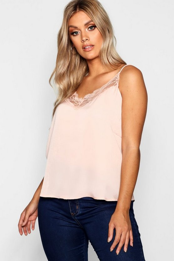 Womens Nude Plus Lace Trim Woven Cami