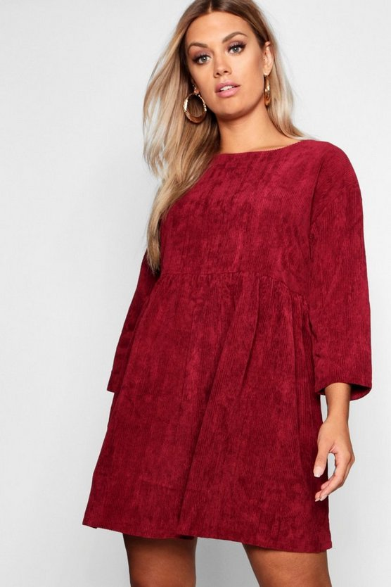 Womens Berry Plus Chunky Cord Smock Dress
