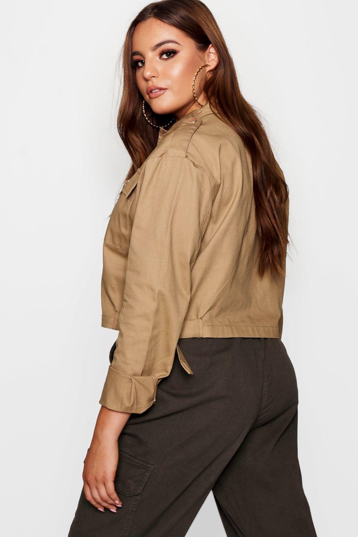 negro bolsillo camisa de Plus con corta Chaqueta detalle estilo Yzwq88U6