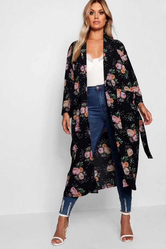 Womens Black Plus Floral Print Kimono Duster Jacket