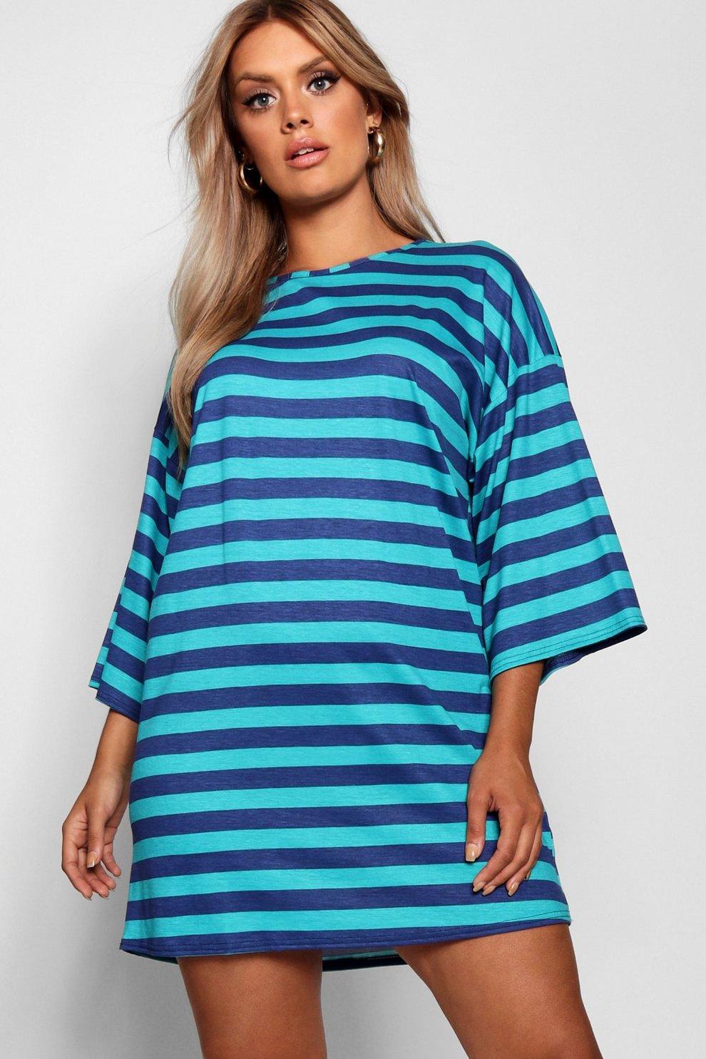 1983af3043b0 Plus Scoop Neck Striped T-Shirt Dress | Boohoo