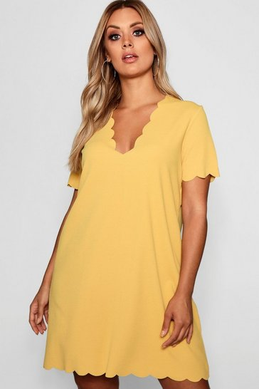 Womens Mustard Plus Scallop Edge V Neck Shift Dress