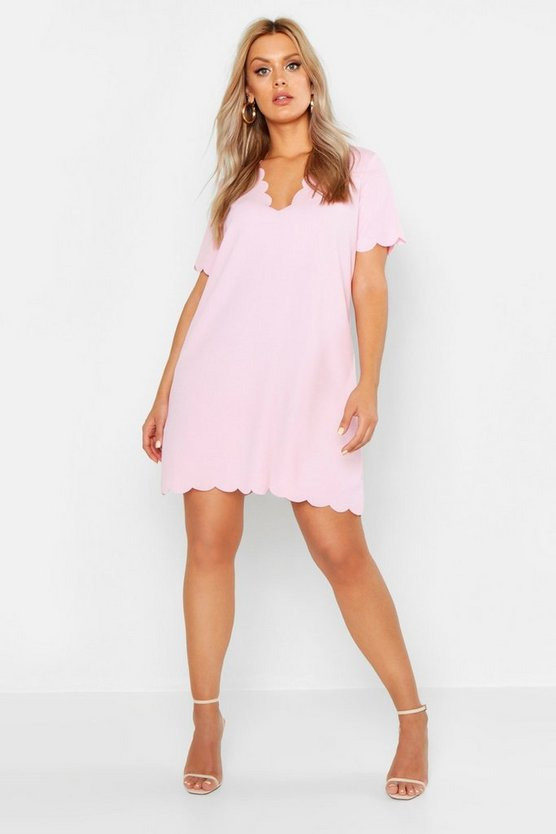 Womens Pink Plus Scallop Edge V Neck Shift Dress