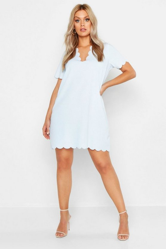 Womens Sky Plus Scallop Edge V Neck Shift Dress