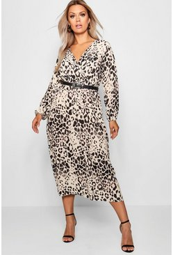 Vestido midi con estampado de leopardo Plus, Marrón