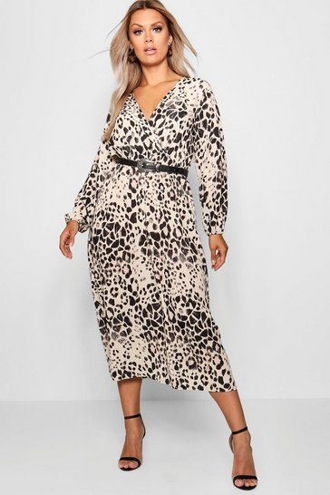 Womens Brown Plus Leopard Midi Dress