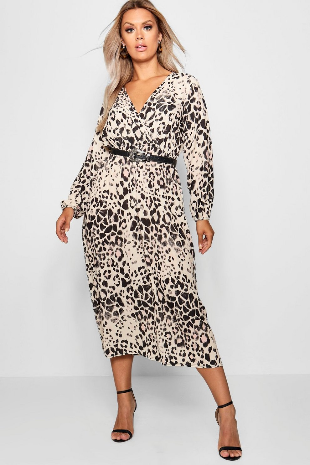5fd48987dd2bc Womens Brown Plus Leopard Midi Dress