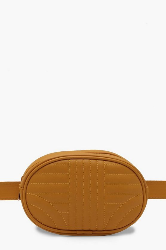 Plus Quilted Contrast Stitch Bum Bag