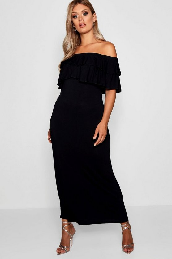 Womens Black Plus Off The Shoulder Ruffle Maxi Dress