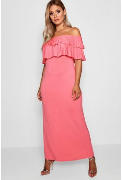 Womens Coral Plus Off The Shoulder Ruffle Maxi Dress