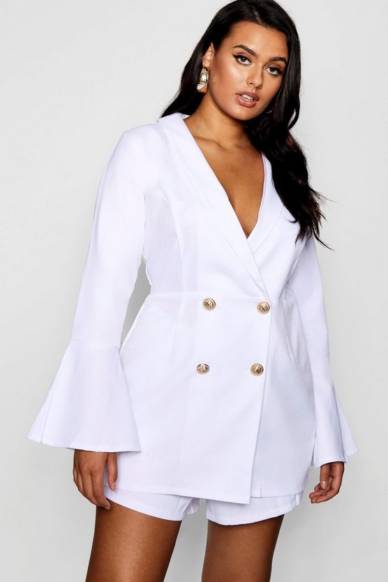 Plus Tailored Flare Sleeve Playsuit