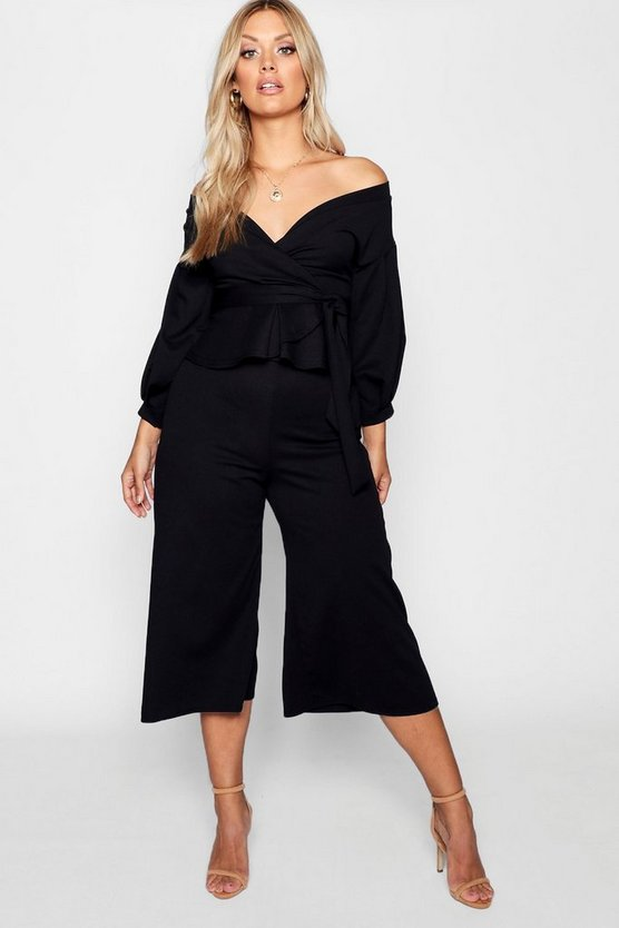 Plus Off Shoulder Wrap Culotte Co-ord