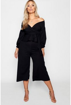 Womens Black Plus Off Shoulder Wrap Culotte Co-ord