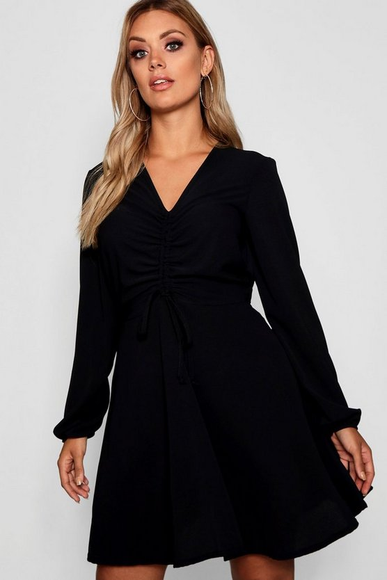 Womens Black Plus Ruched Front Smock Dress