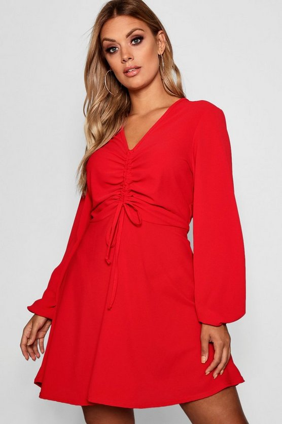 Red Plus Ruched Front Smock Dress