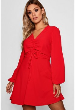 Womens Red Plus Ruched Front Smock Dress