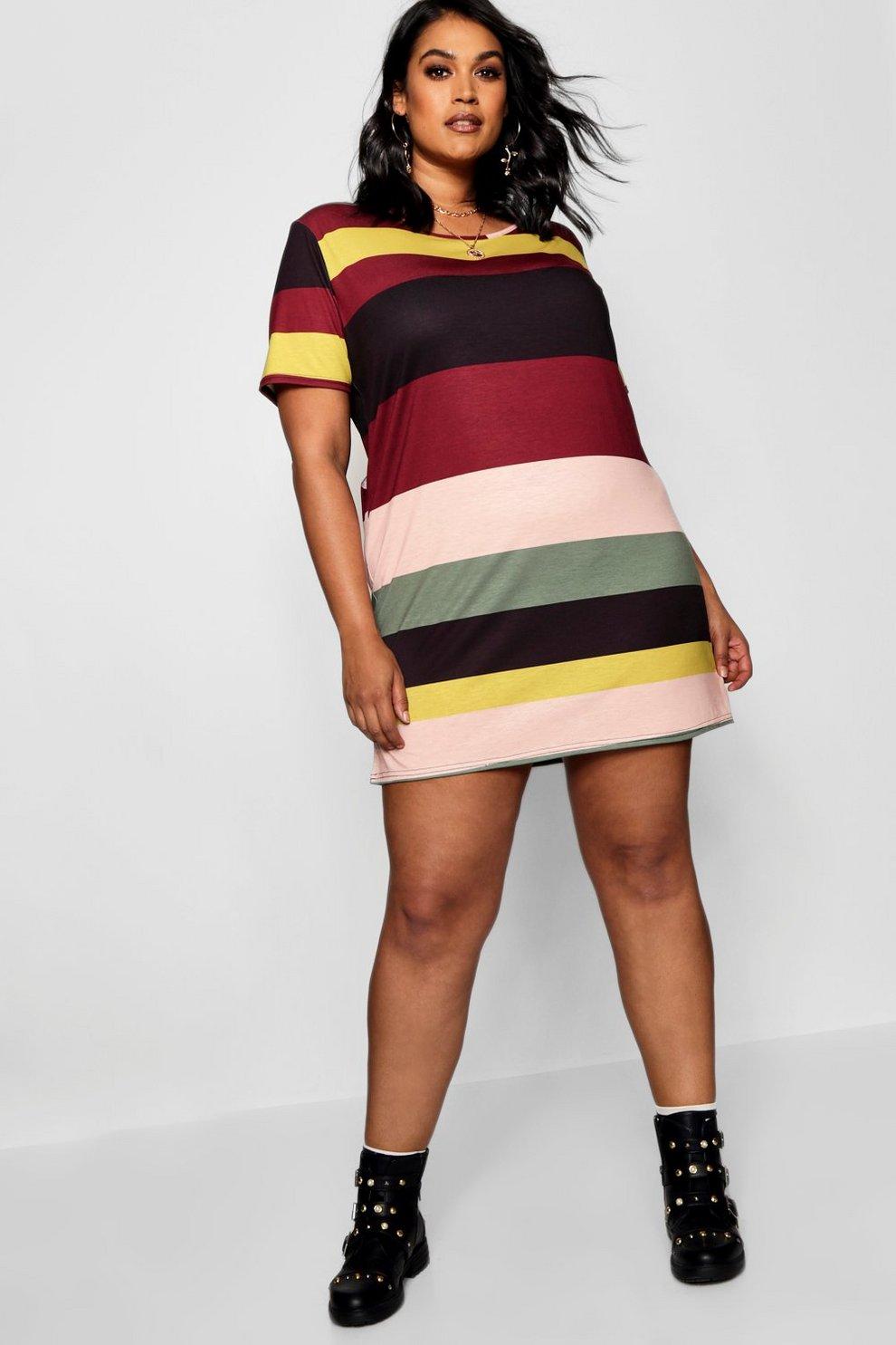 d5e9f7936ce0 Plus Striped T-Shirt Dress