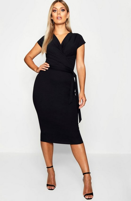 Plus Wrap Over Tie Front Midi Dress
