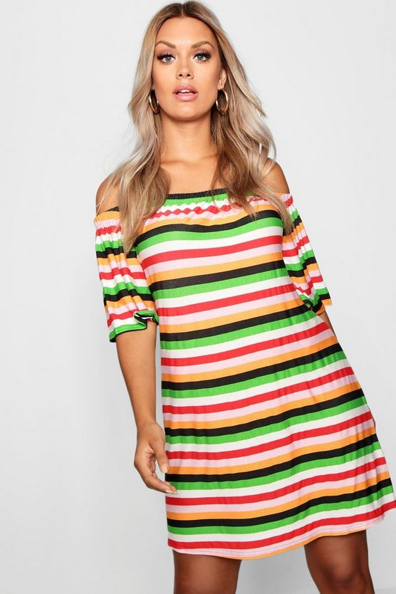 Plus Striped Off The Shoulder Dress