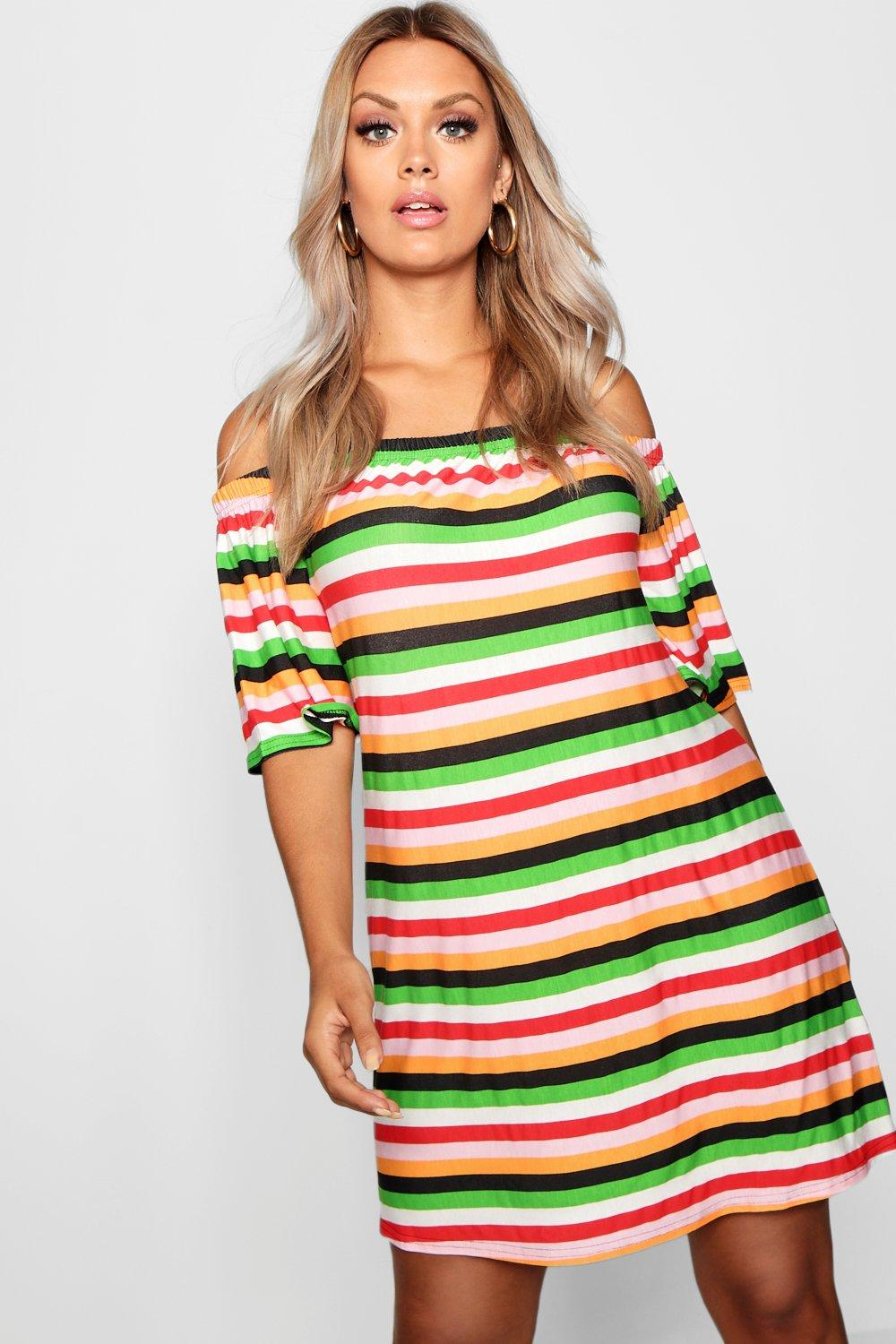 f4d1a5942c08 Plus Striped Off The Shoulder Dress. Hover to zoom