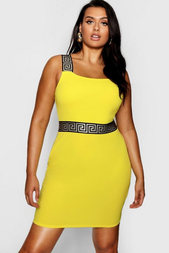 Plus Greek Key Trim Bodycon Dress