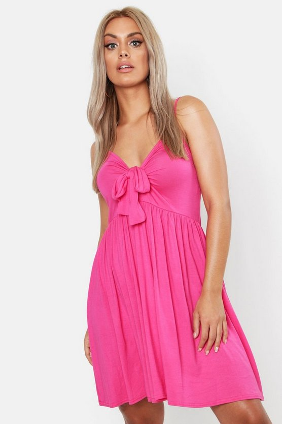 Bright pink Plus Strappy Knot Front Swing Dress