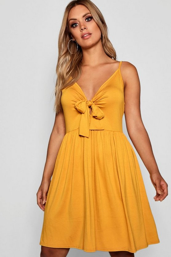 Womens Mustard Plus Strappy Knot Front Swing Dress