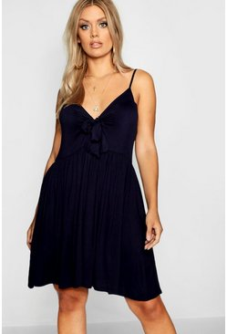 Womens Navy Plus Strappy Knot Front Swing Dress