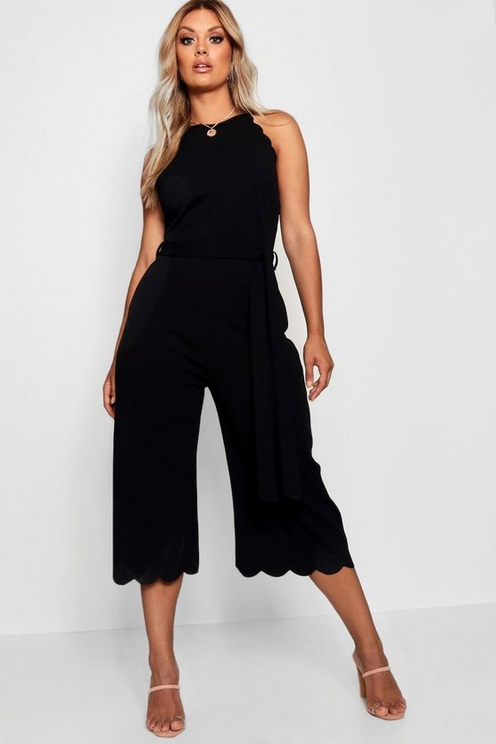 Womens Plus Scallop Edge Wide Leg Jumpsuit