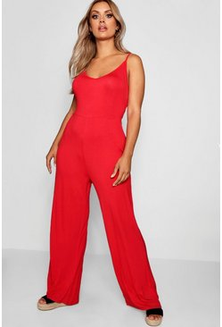 Womens Red Plus Wide Leg Jumpsuit