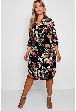 Womens Black Plus Floral Printed Shirt Dress