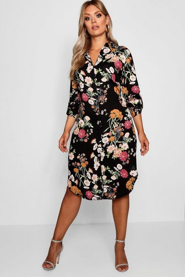 Black Plus Floral Printed Shirt Dress