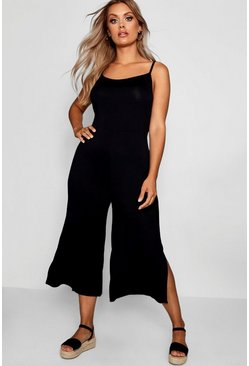 Black Plus Jersey Culotte Jumpsuit