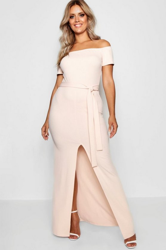 Plus Off The Shoulder Belted Maxi Dress