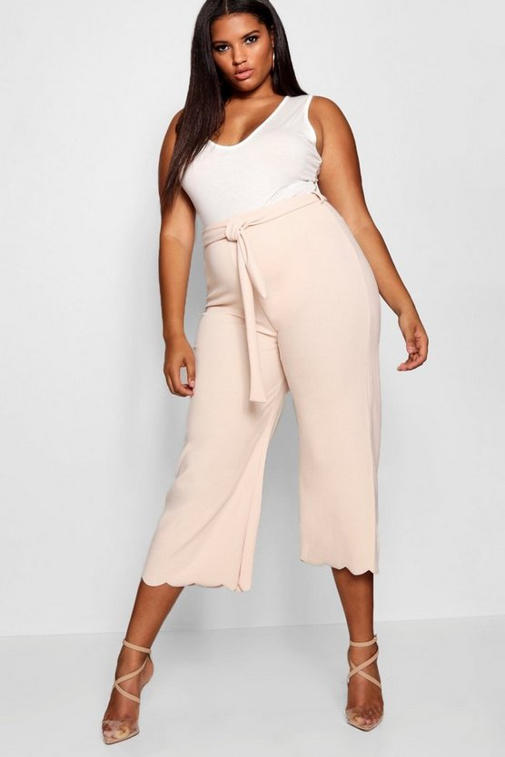 Plus Tie Waist Scallop Edge Trouser