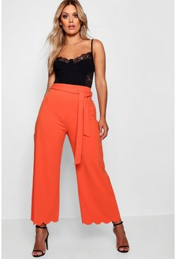 Womens Tangerine Plus Tie Waist Scallop Edge Pants