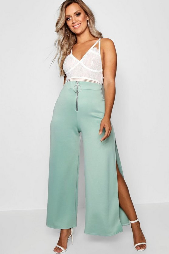Plus Ring Pull Wide Leg Trouser