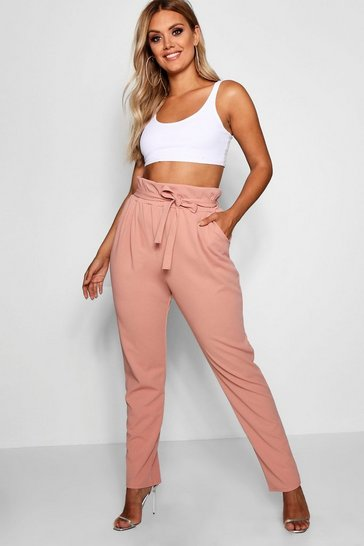 Womens Blush Plus Paperbag Tapered Trouser