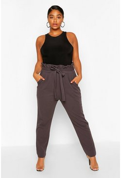Charcoal Plus Paperbag Tapered Trouser