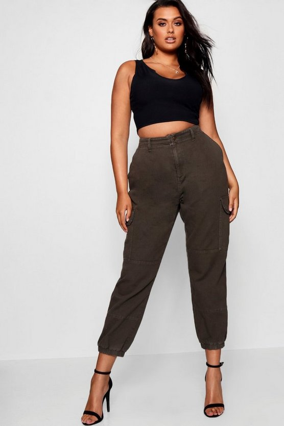 Plus Denim Cuffed Utility Pant